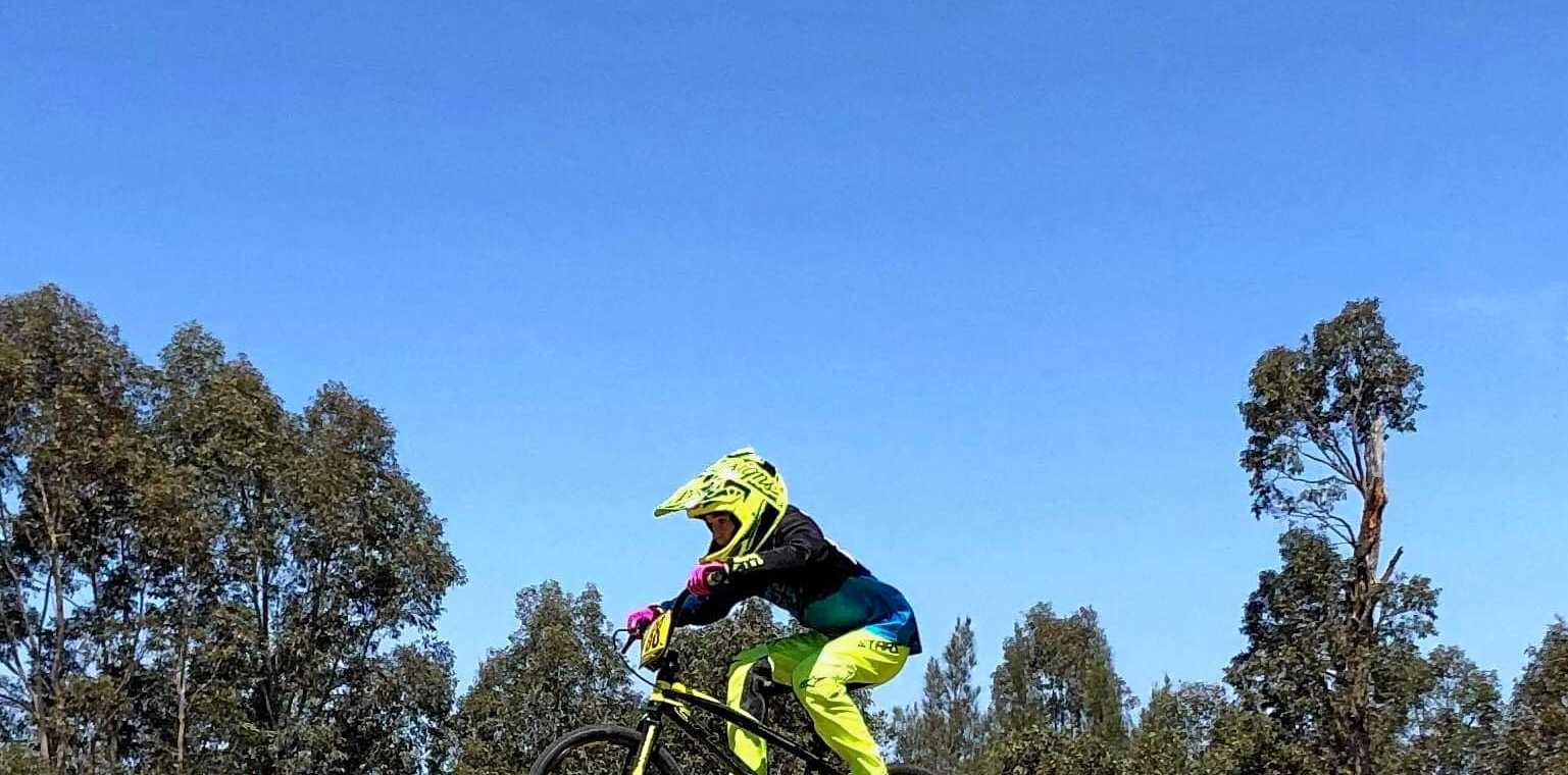 WHEELY GOOD: Casino BMX Club rising star Dean Sneesby, 12, showed grit in the NSW BMX Titles after finishing his race despite a crash and a flat tyre.