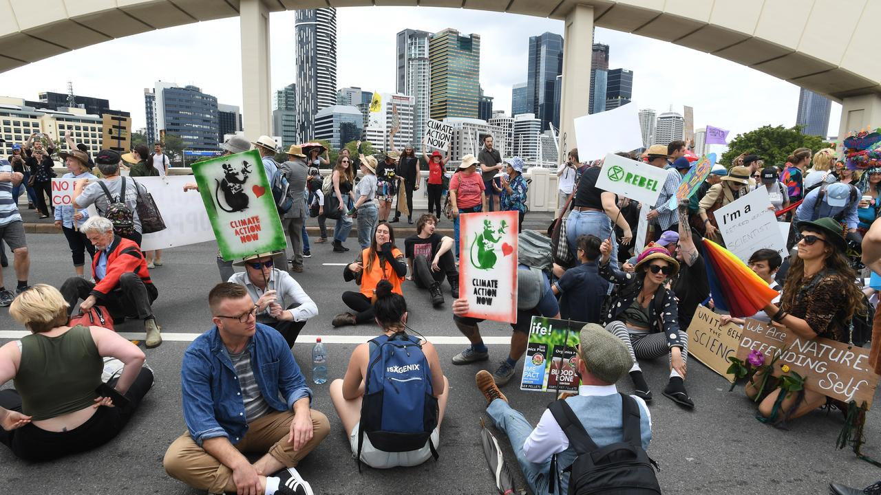 Activists from Extinction Rebellion take over the William Jolly Bridge. Picture: AAP Image/Dave Hunt
