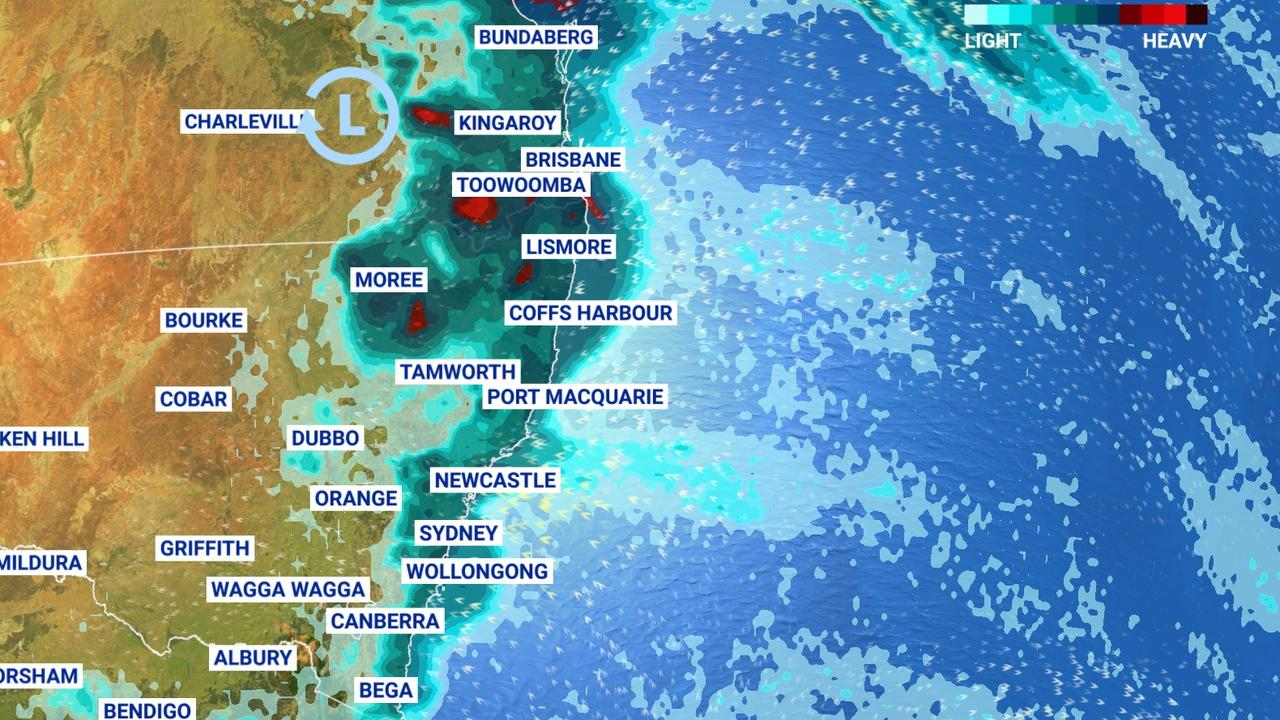 Some of the heaviest rain for months is set to hit NSW and Queensland. Picture: Sky News Weather