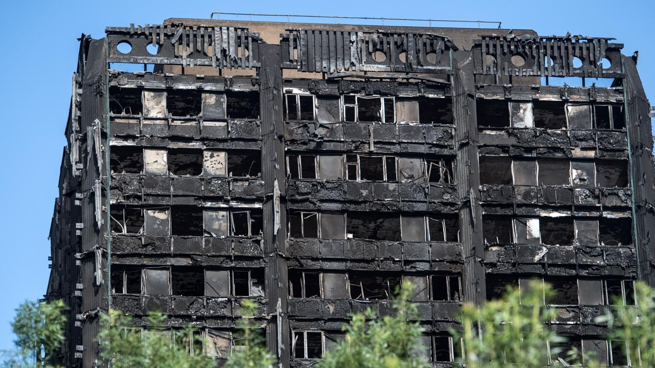 The remains of Grenfell Tower in London after it was engulfed by a fire fuelled by combustible cladding.