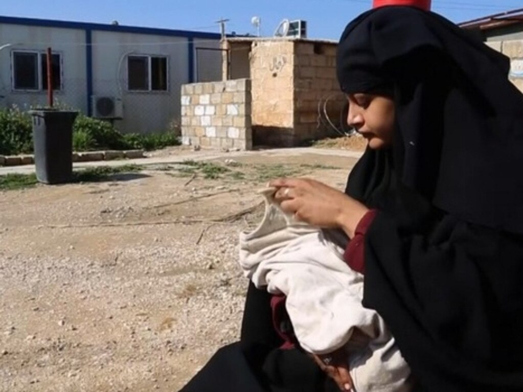 Another of the girls, Shamima Begum with her baby boy in the al-Hawl refugee camp in Syria.