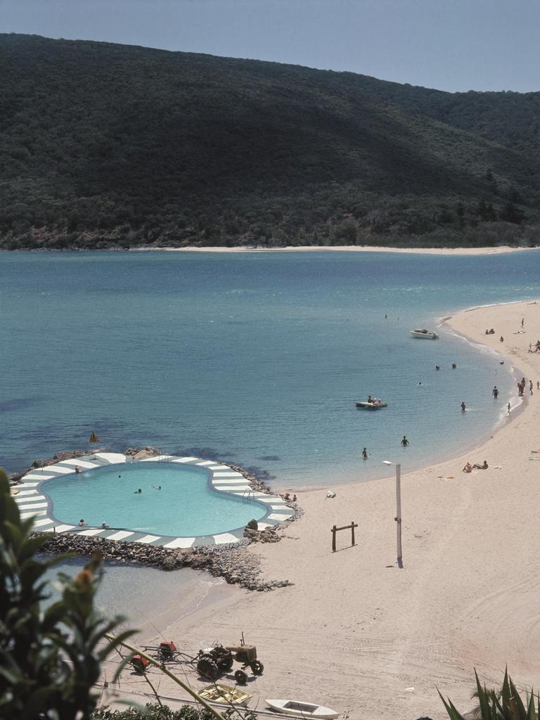 Brampton Island's beach and pool in the 1960s from Those Were The Days by Ron and Elizabeth Morrison.