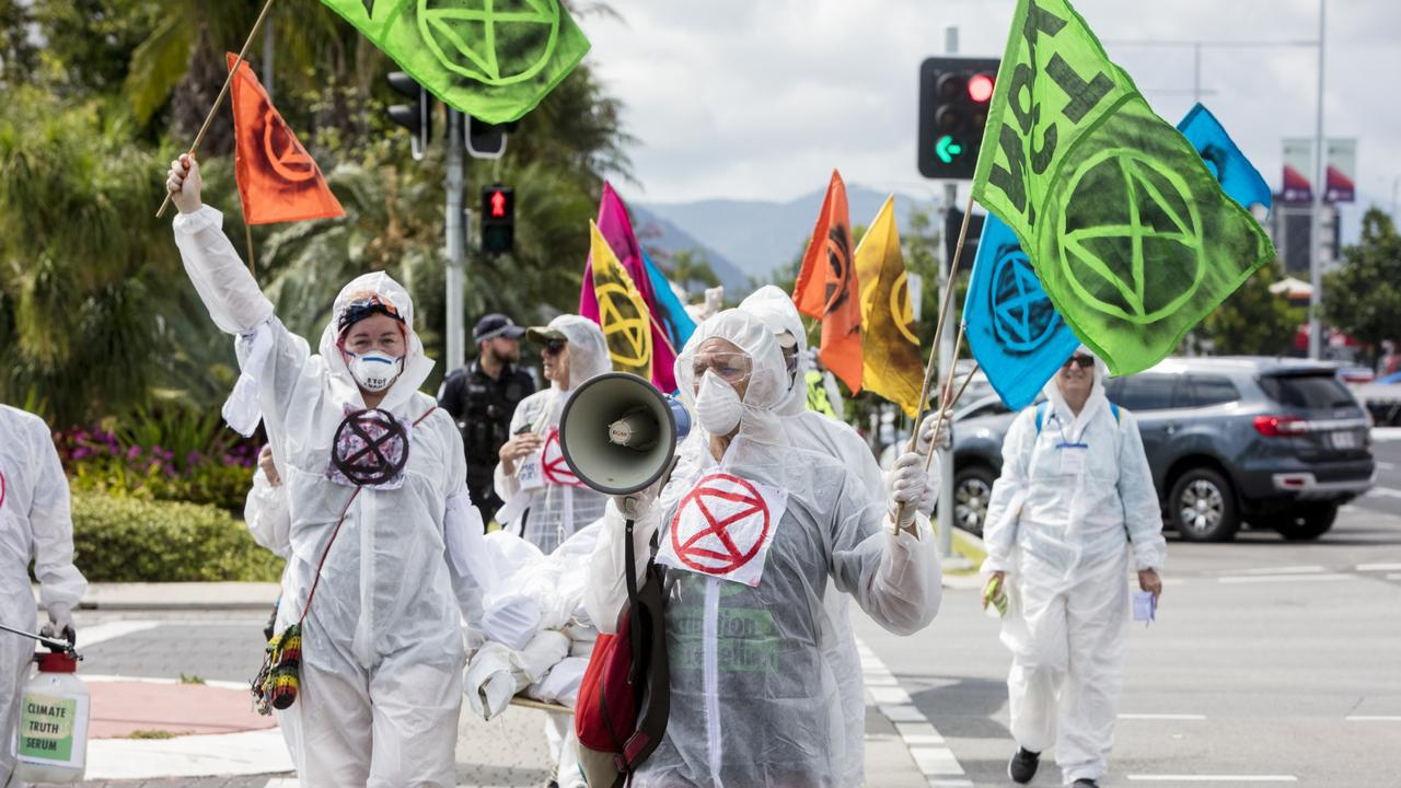 Members of Extinction Rebellion take to the streets of Cairns in climate action protests. Picture: Greg Sorenson