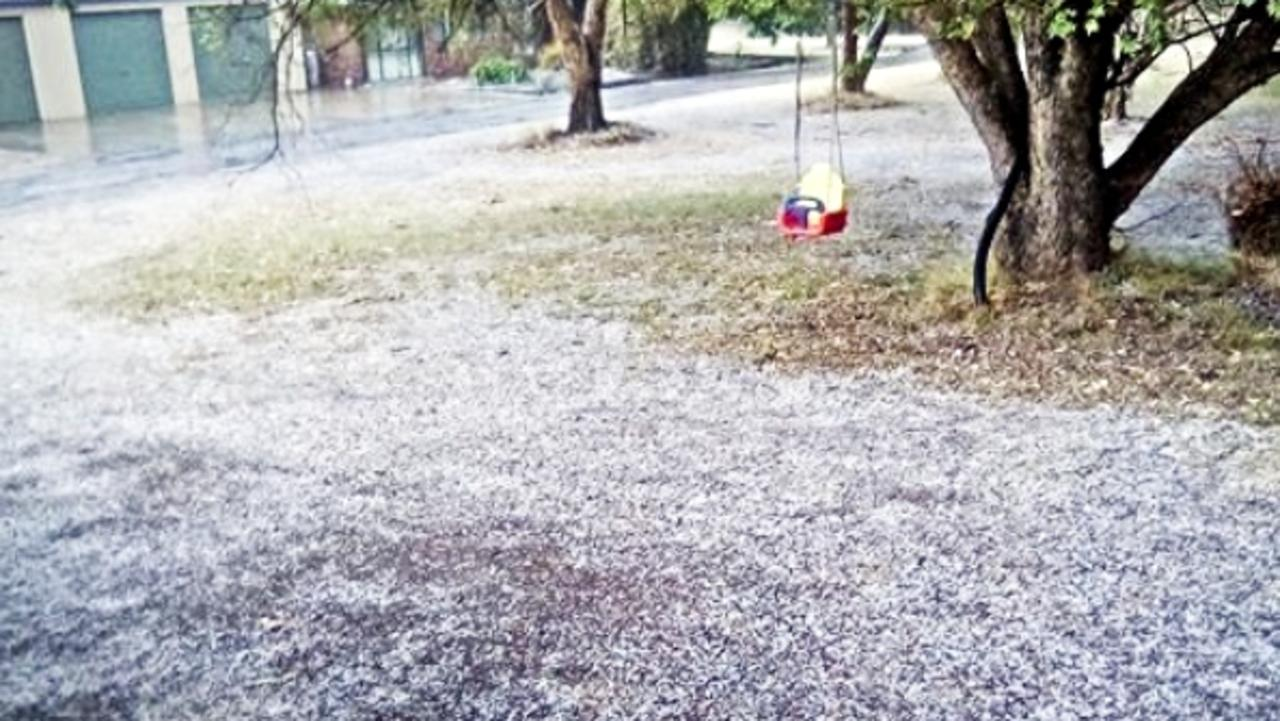 Lisa Evans at Amiens had some hail fall at her property this morning.