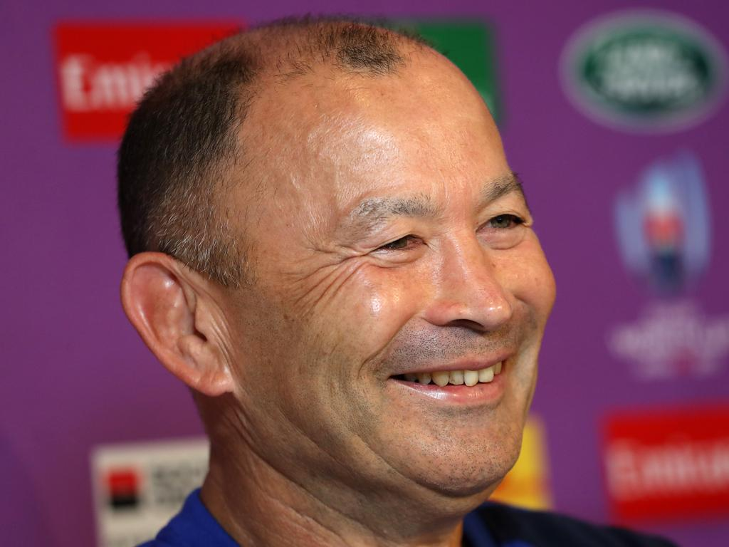 England coach Eddie Jones is laughing. (Photo by David Rogers/Getty Images)