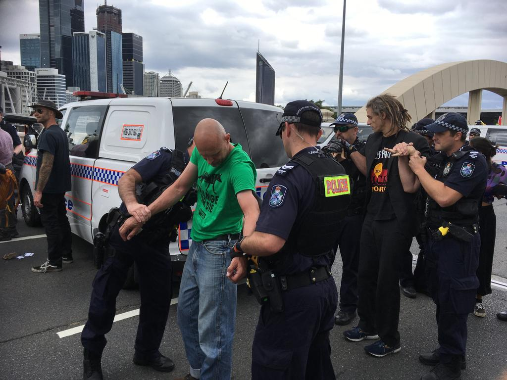 Police have made multiple arrests on William Jolly Bridge. Picture: Nicole Pierre