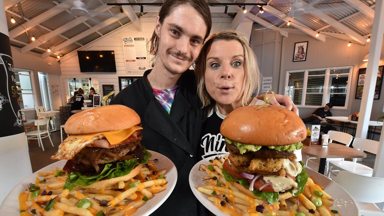 FEEDING THE MASSES: Hayden Gilgen and Deborah Hanks from Ninth Street, The Wharf, with popular burgers.