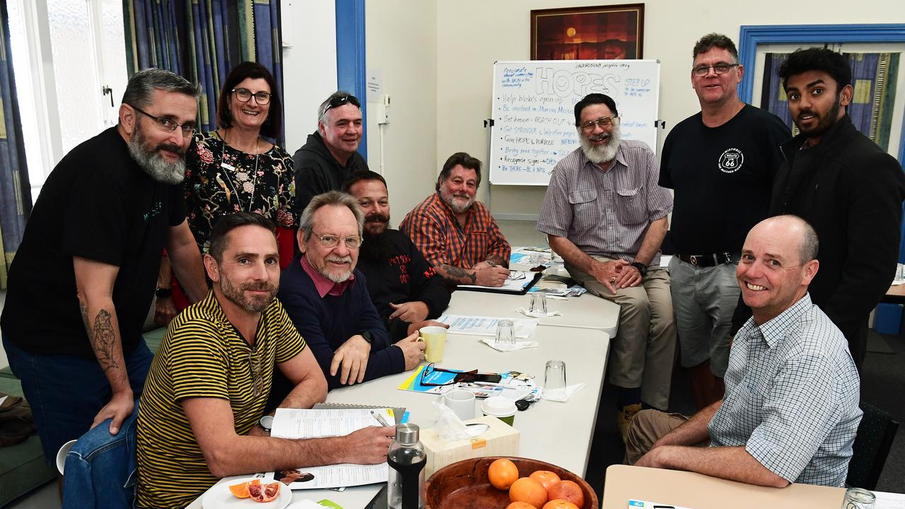 MENTORS IN TRAINING: Glen Wallwork with trainee MENtor volunteers in Bundaberg. (left to right) Paul Baumgartner, Mark Watson, Andree Roberts (marcus mission), Steve English-Ellis, Noel James, Adrian Pearce, Paul Klotz, Jeff Lawrence, Stewart McCulloch, Varnan Suresh and Glen Wallwork. Photo: Mike Knott