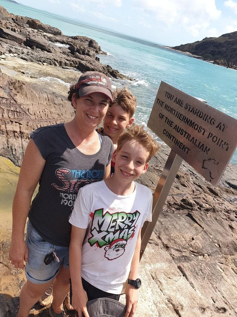 Rachael Sellars, 48, with sons Darian, 13, and Ronan, 11. Picture: Supplied