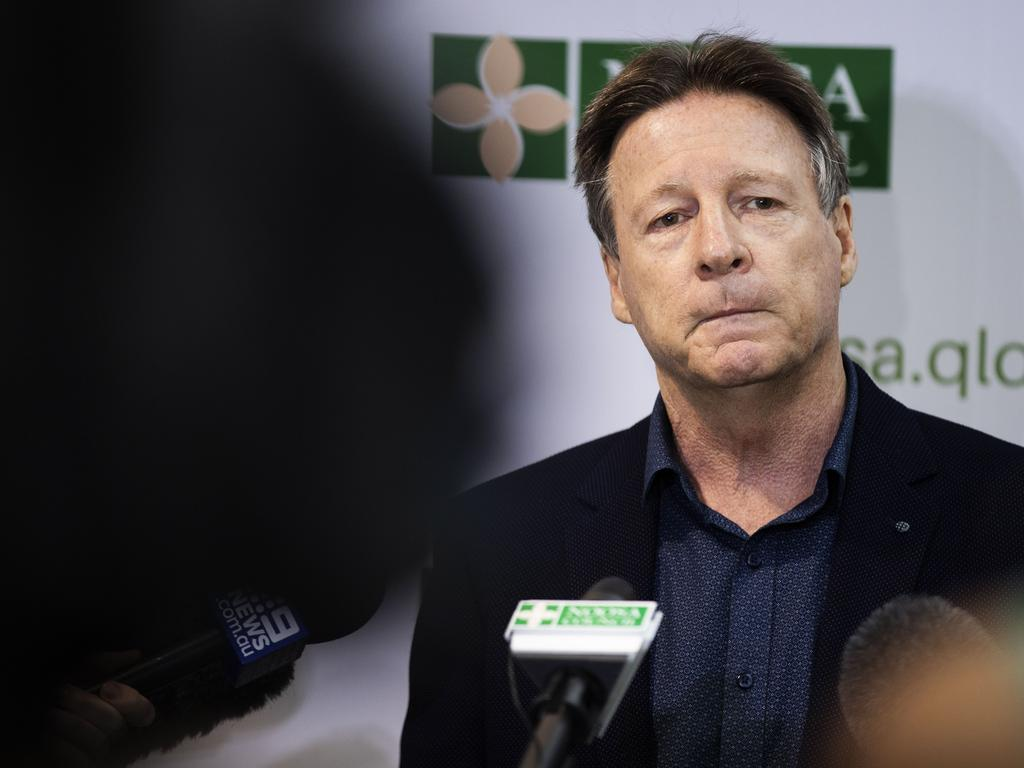 Noosa Shire Mayor Tony Wellington fronts the media after he asked Bachelorette contestant and Noosa councillor Jess Glasgow to resign after his performance on the reality TV show. Photo Lachie Millard