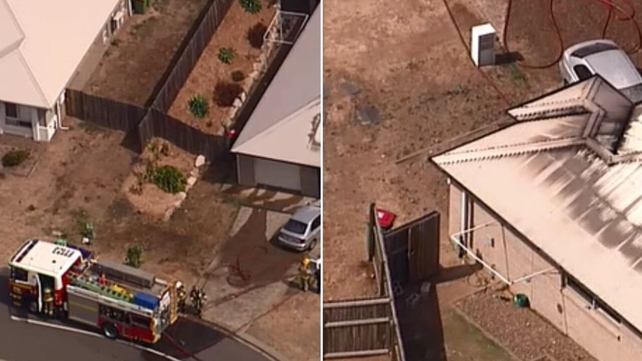 A house west of Brisbane has been gutted by fire this afternoon. Picture: 9NewsQueensland