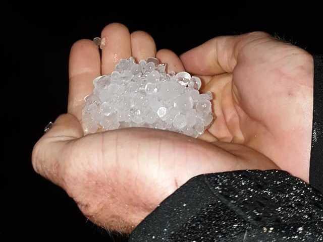Hail fell last night in Eungella.