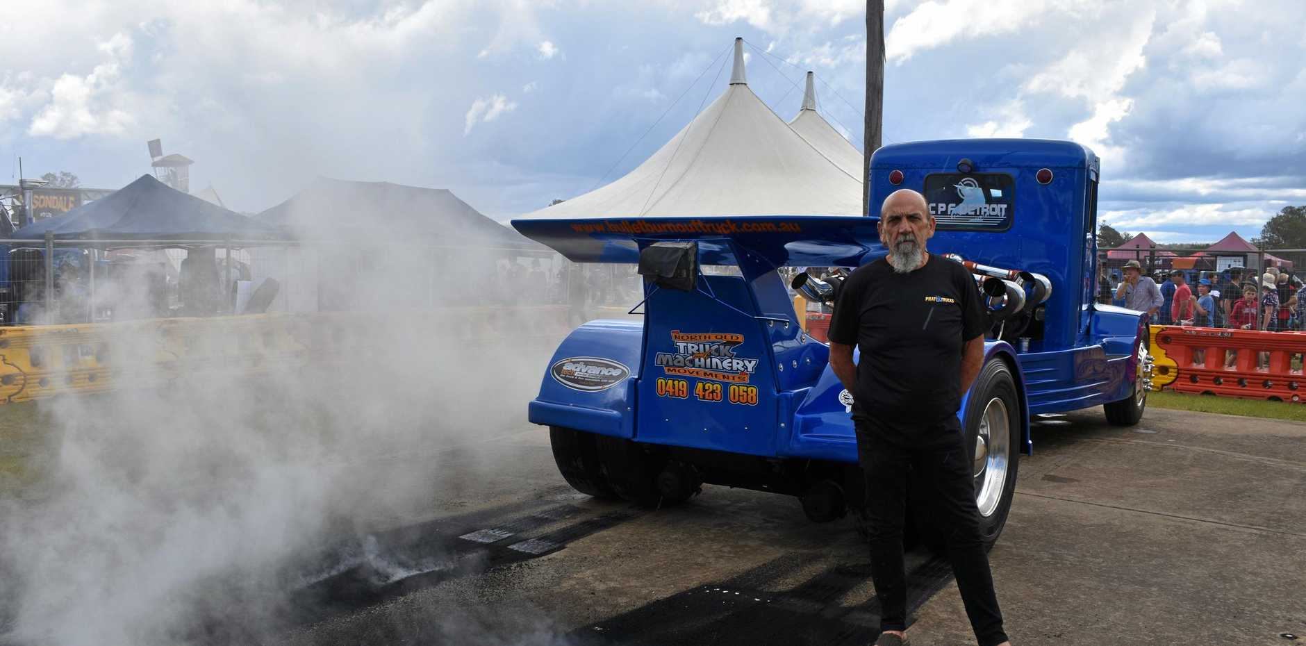 Laurie Williams of Beerwah kept the crowd entertained with his fire breathing Bullet Burnout Truck at Matty Hillcoat's Truckies' Day Out