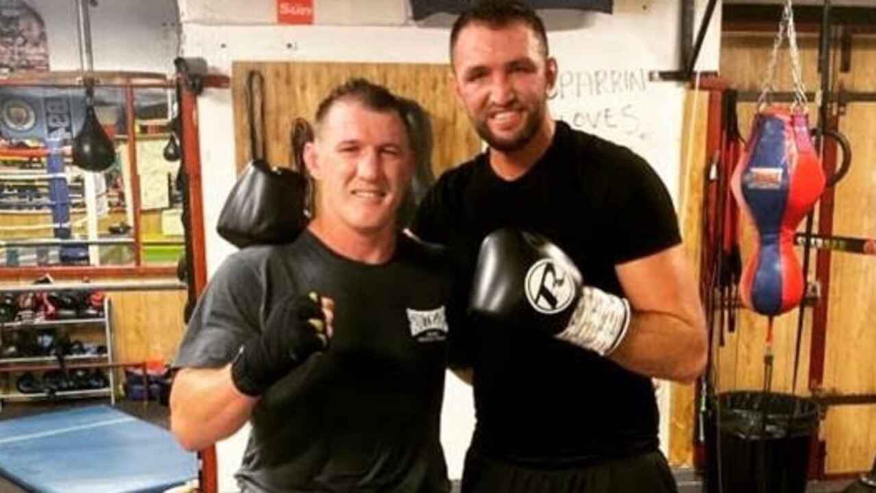 Rugby league great Paul Gallen (left) has been sparring in England with that country's heavyweight boxing champion, Hugh Fury.
