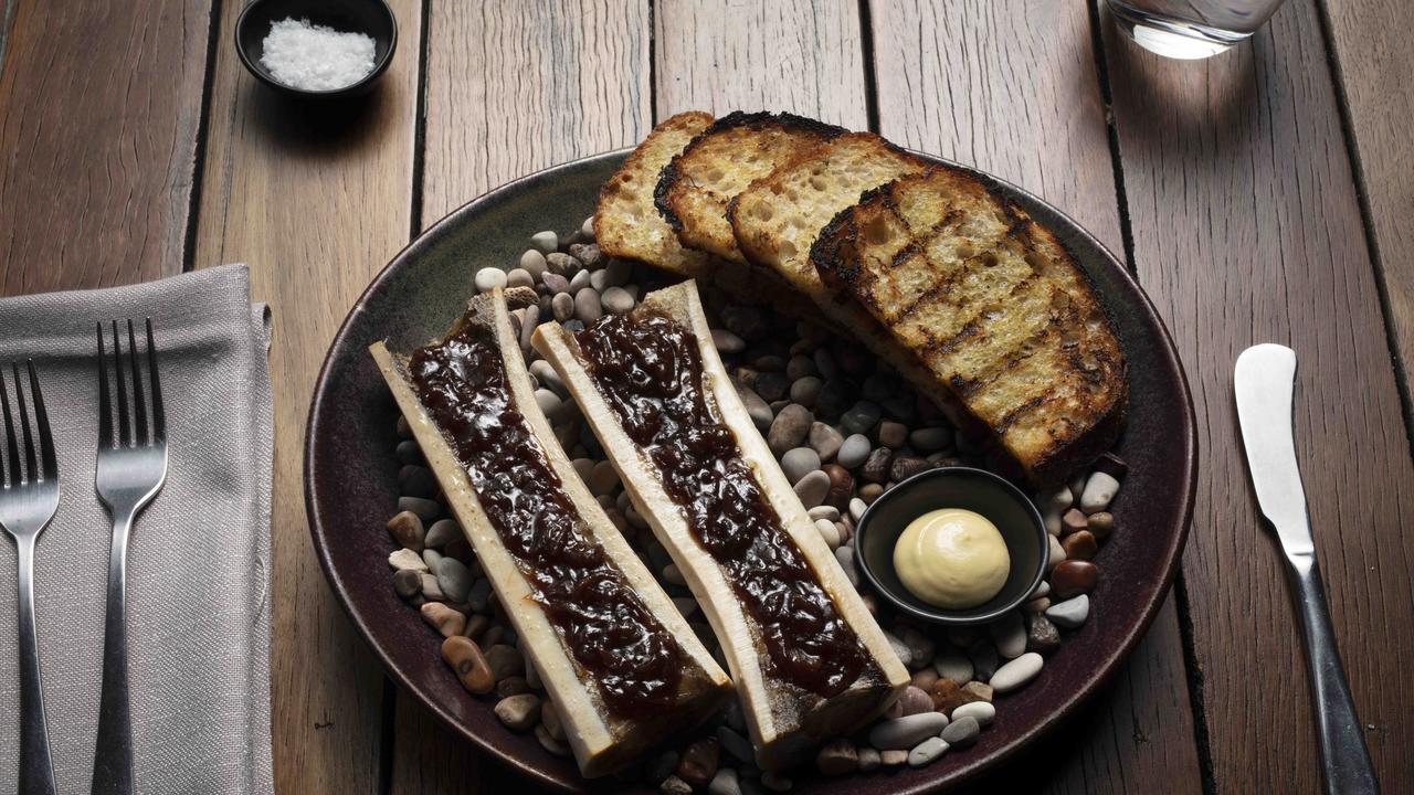 The Glenelg Public House's bone marrow with onion jam. Picture: Russell Shakespeare