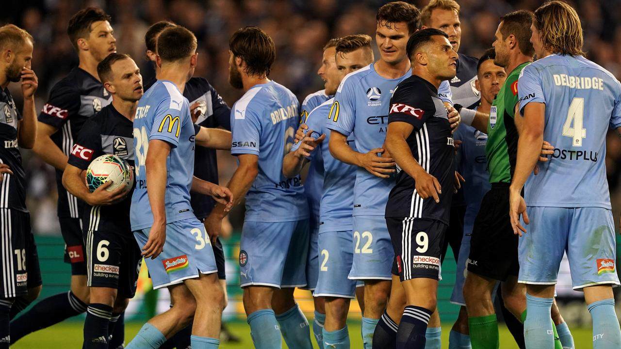Tempers threatened to boil over near the end. Picture: AAP