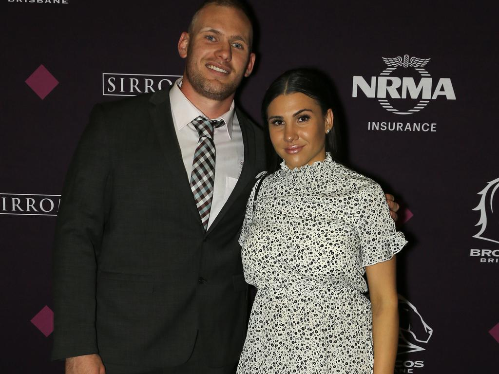 Matt Lodge and Jessica O'Sullivan at the Broncos' presentation night.