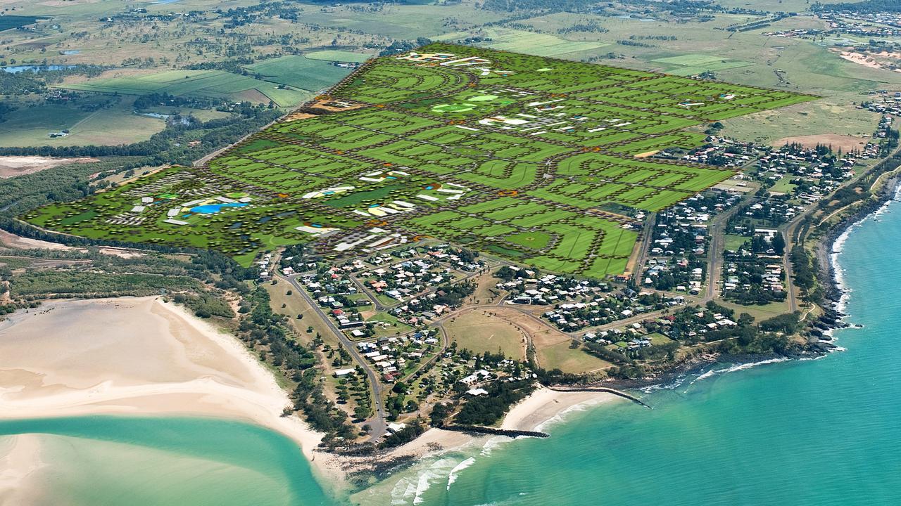 An aerial of the $2 billion masterplanned community at Elliot Heads' near Bundaberg.