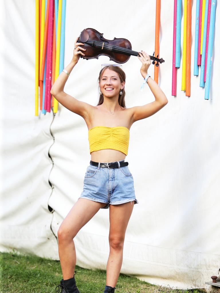 Sofia Kelly from The Kelly family Band poses at last year's Woodford Folk Festival. (AAP Image/Claudia Baxter)
