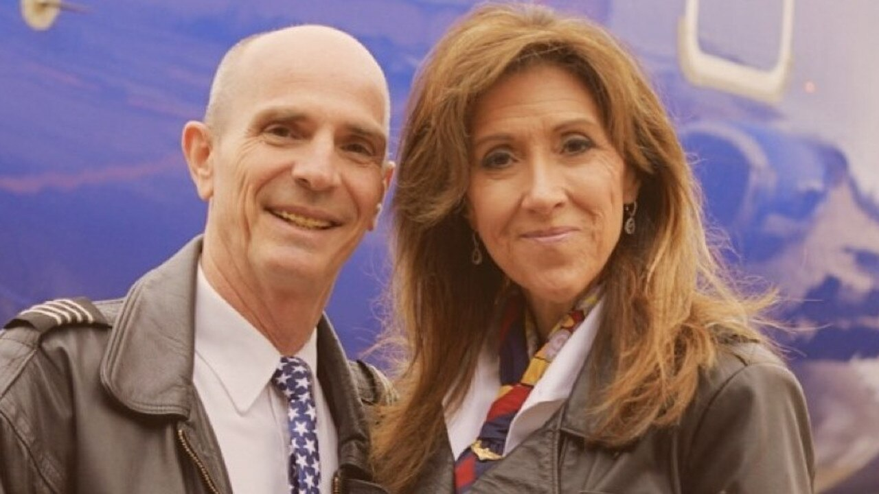 Tammie Jo Schults and husband Dean, who was originally rostered on to fly flight 1380. Picture: Facebook