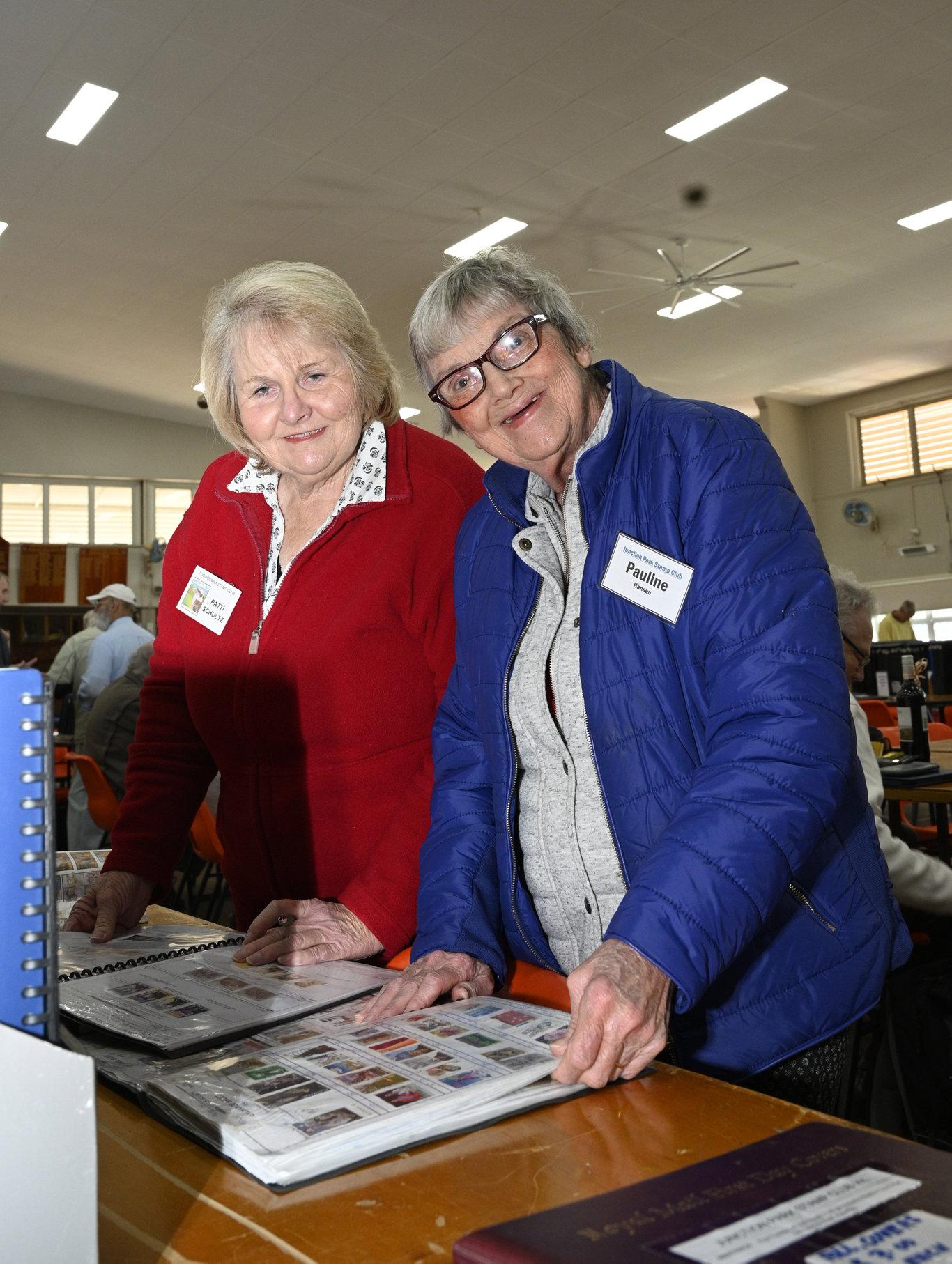 Patti Schultz (left) and Pauline Hansen. Stamp Fair at Indoor Bowls Hall. October 2019 Picture: Bev Lacey