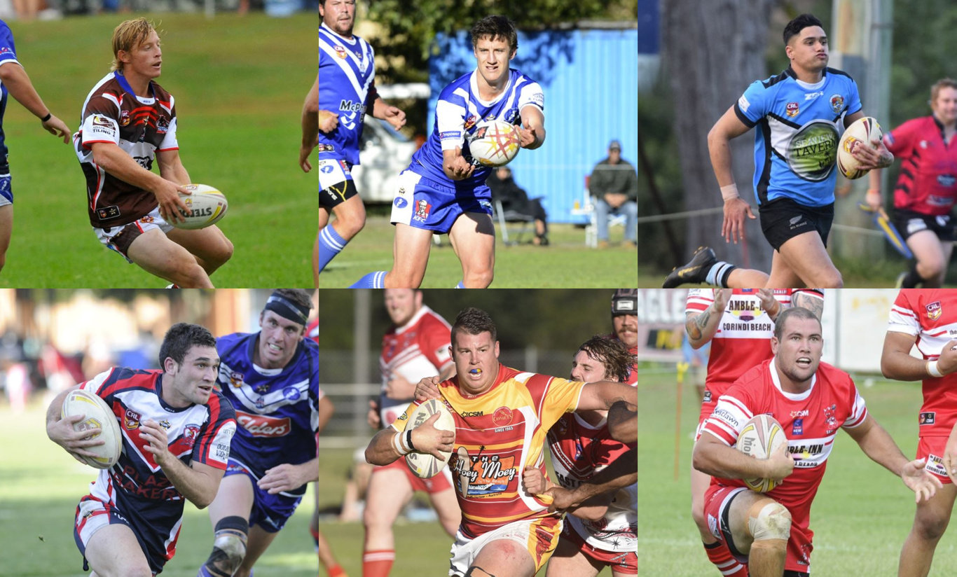 SIMPLY THE BEST: (Clockwise from top left) Lachie Miller, Mitchell Lollback, Shayde Perham, Jay Melrose, Matt Cheeseman and Grant Stevens have all been voted into the Group 2 Team of the Decade by the clubs.