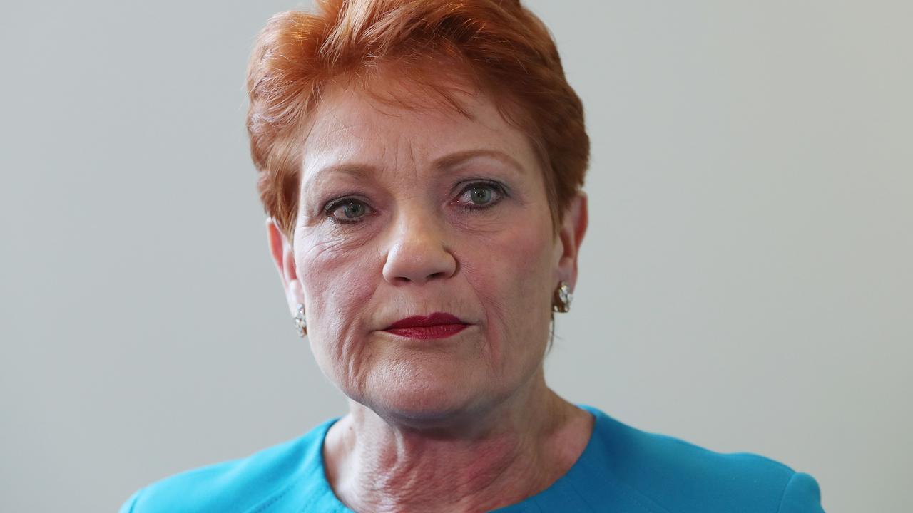 Senator Pauline Hanson at Parliament House in Canberra.