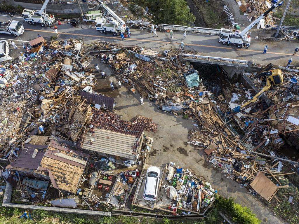 Buildings lie in ruins after they were hit by a tornado shortly before the arrival of Typhoon Hagibis in Chiba, Japan. Picture: Carl Court/Getty Images