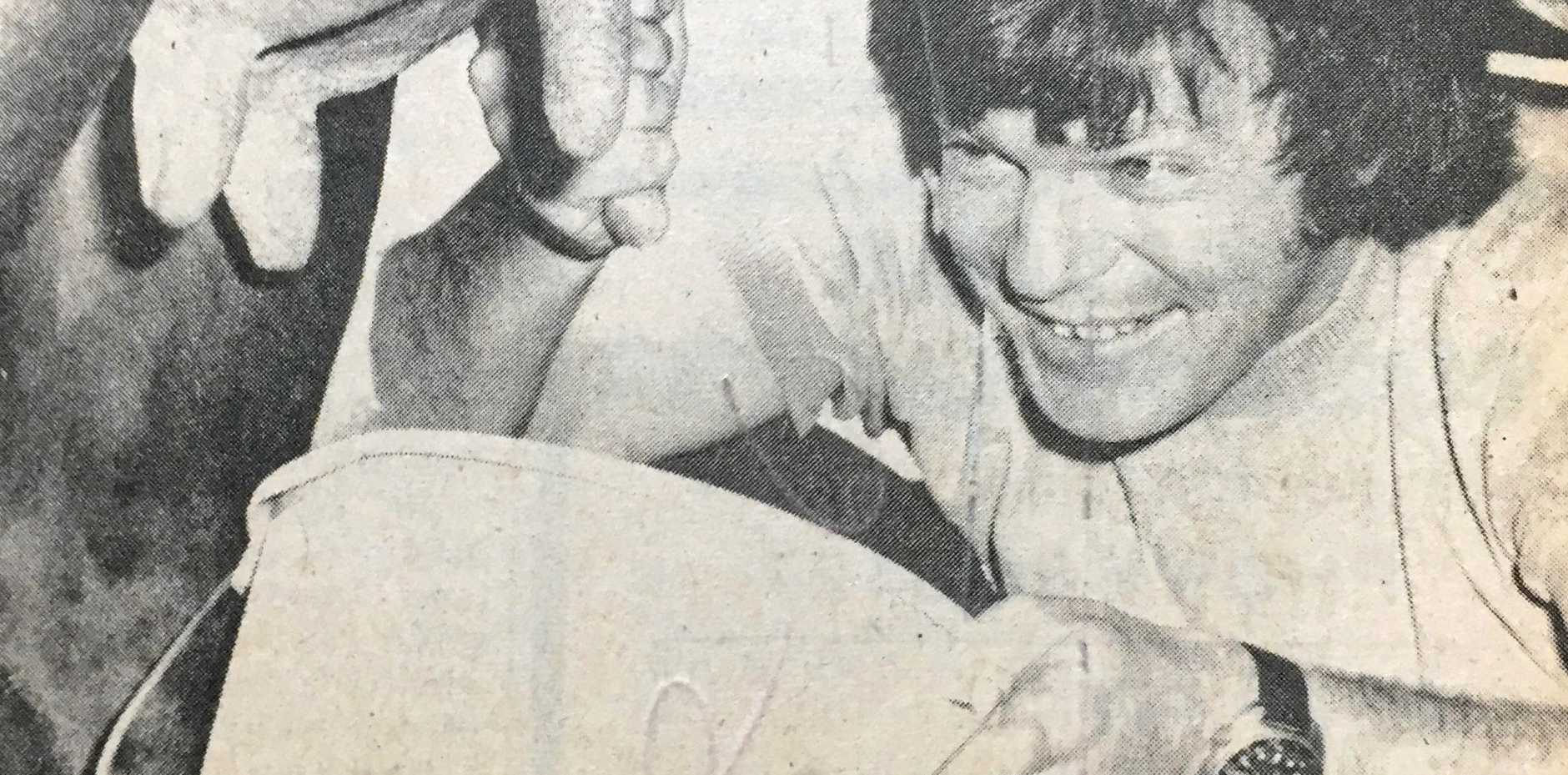 NORTH COAST NATIONAL 1972: Ross McLeod competes in the Radio 2LM milking competition.