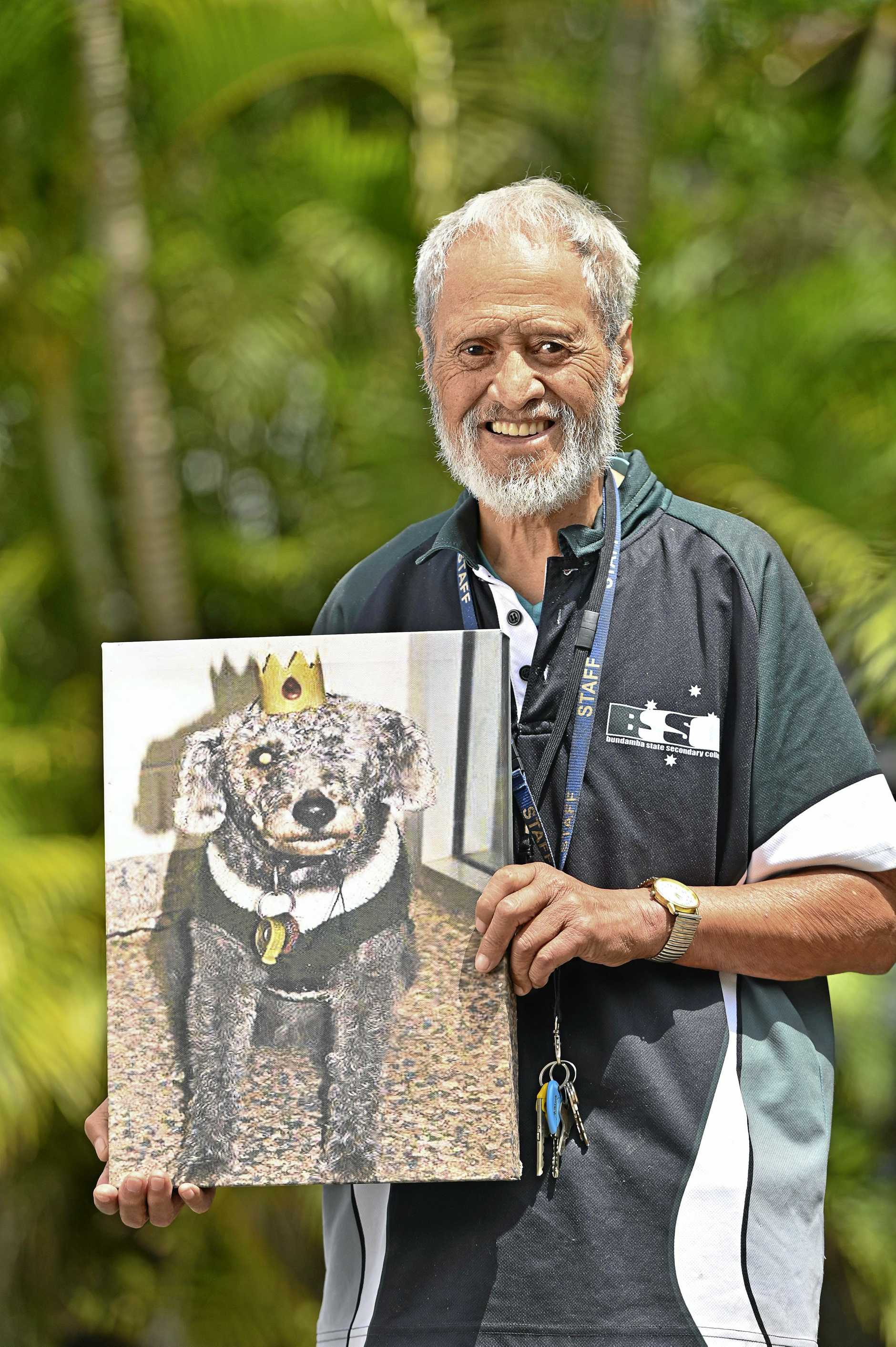GIVING BACK: Koro Reg Tohia has dedicated two decades to volunteering at Bundamba State Secondary College. His late dog Panda was a bit of a superstar in Bundamba before she died at 20 years old.