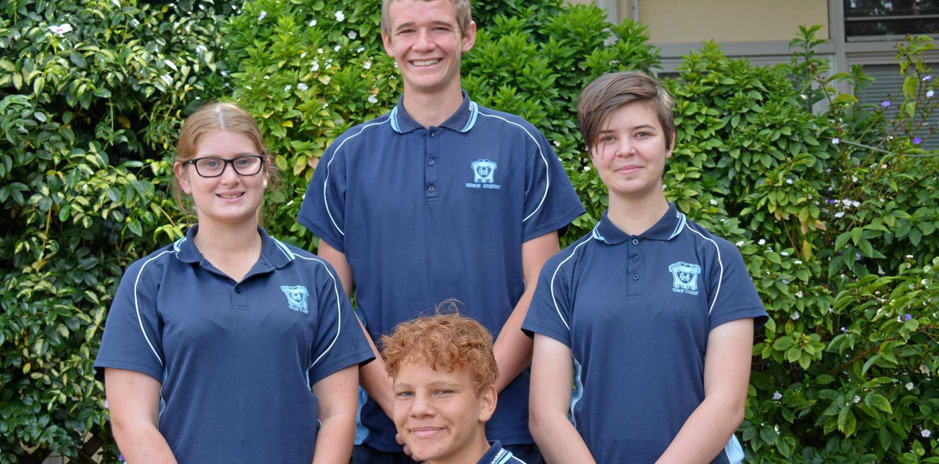 Kingaroy State High School students Trinity Rose, Ian Nicholson, Larna Buckle, and Nicholas Hume.