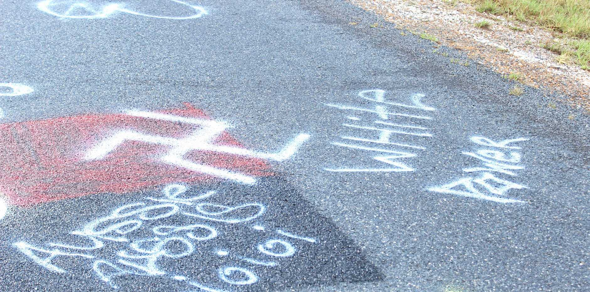 Racist graffiti was sprayed over the Orara way just outside Grafton.