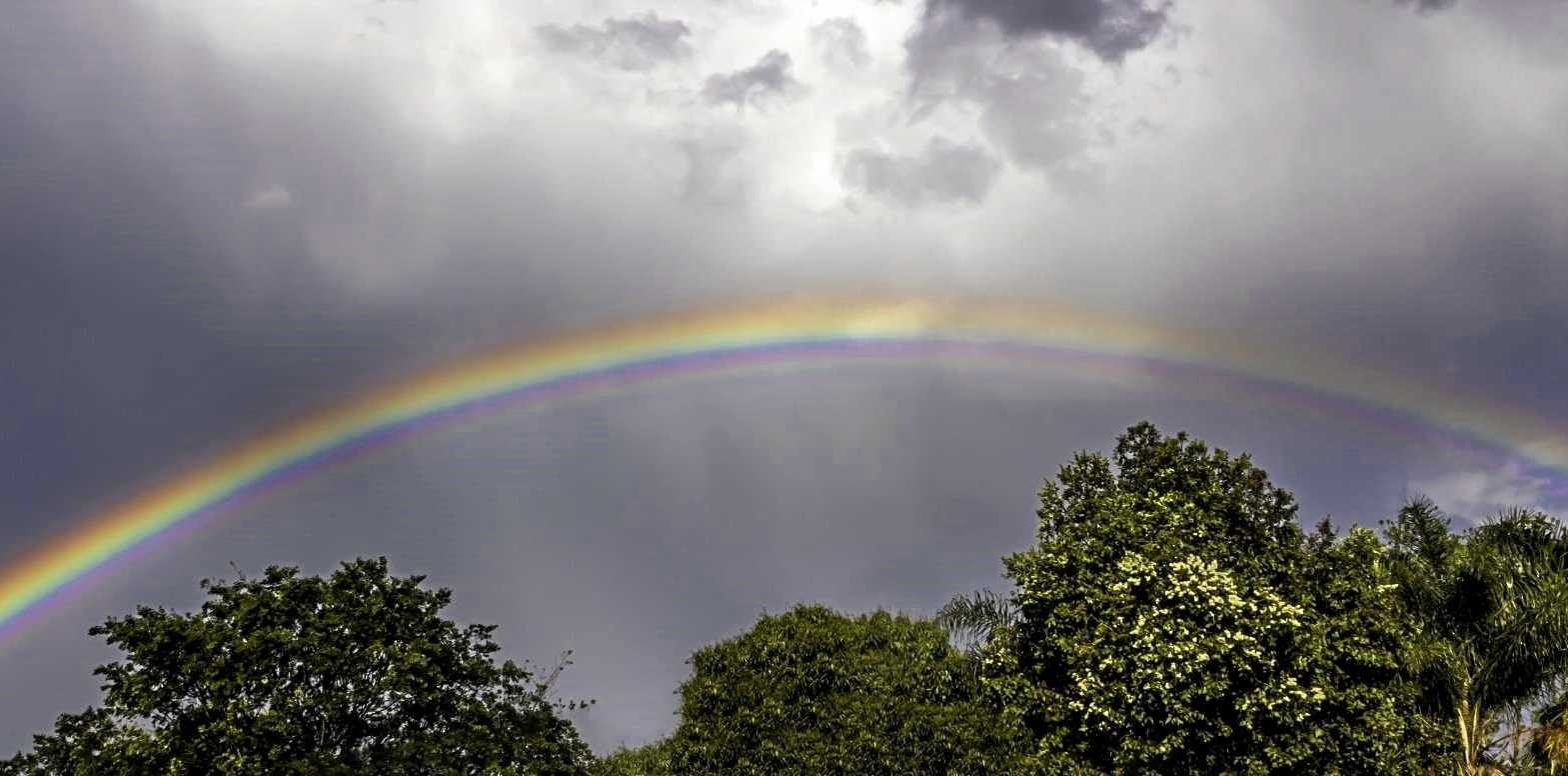 Austin Barnes took this photo of a rainbow over Gympie from Red Hill Rd on Saturday afternoon.