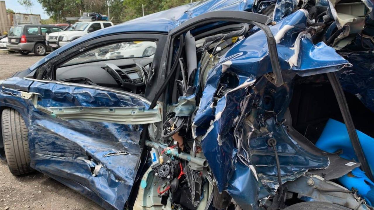 CRUSHED: Linda Meyer's Hyundai Elantra has extensive damage after a pileup on the Sunshine Motorway on October 8.