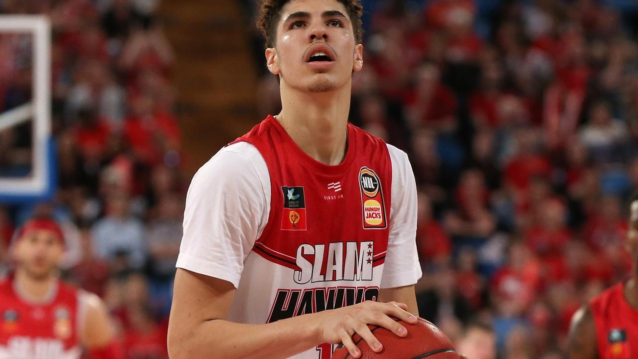 PERTH, AUSTRALIA — OCTOBER 11: LaMelo Ball of the Hawks shoots a free throw during the round two NBL match between the Perth Wildcats and the Illawarra Hawks at RAC Arena on October 11, 2019 in Perth, Australia. (Photo by Paul Kane/Getty Images)