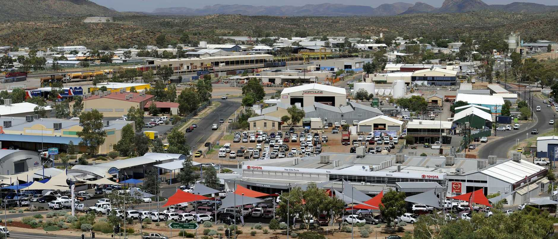 LANDMARKS Alice Springs - Looking at the township with Peter Kittle's yard in the foreground from Anzac Hill