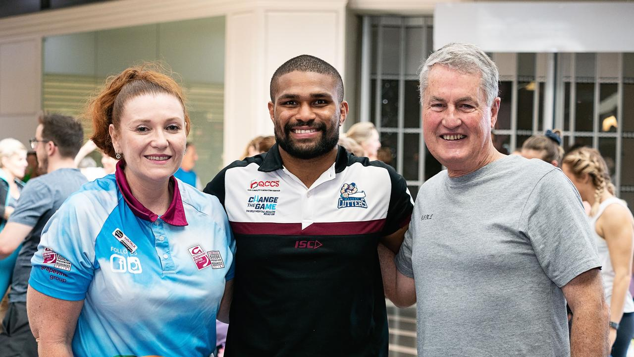 Grapevine Group vice-president Debbie Knight, Mackay Cutters vice-captain Jayden Hodges and Mackay Regional Council Mayor Greg Williamson at the record-setting Stretch for Grapevine fundraiser in Caneland Central Mackay. Photo: Fiona Kroll