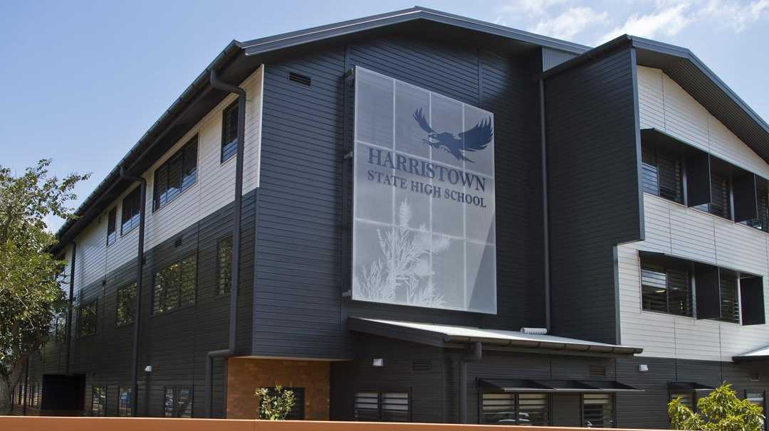The $15.4 million three-storey teaching block and new admin at Harristown State High School is now complete. Picture: Kevin Farmer