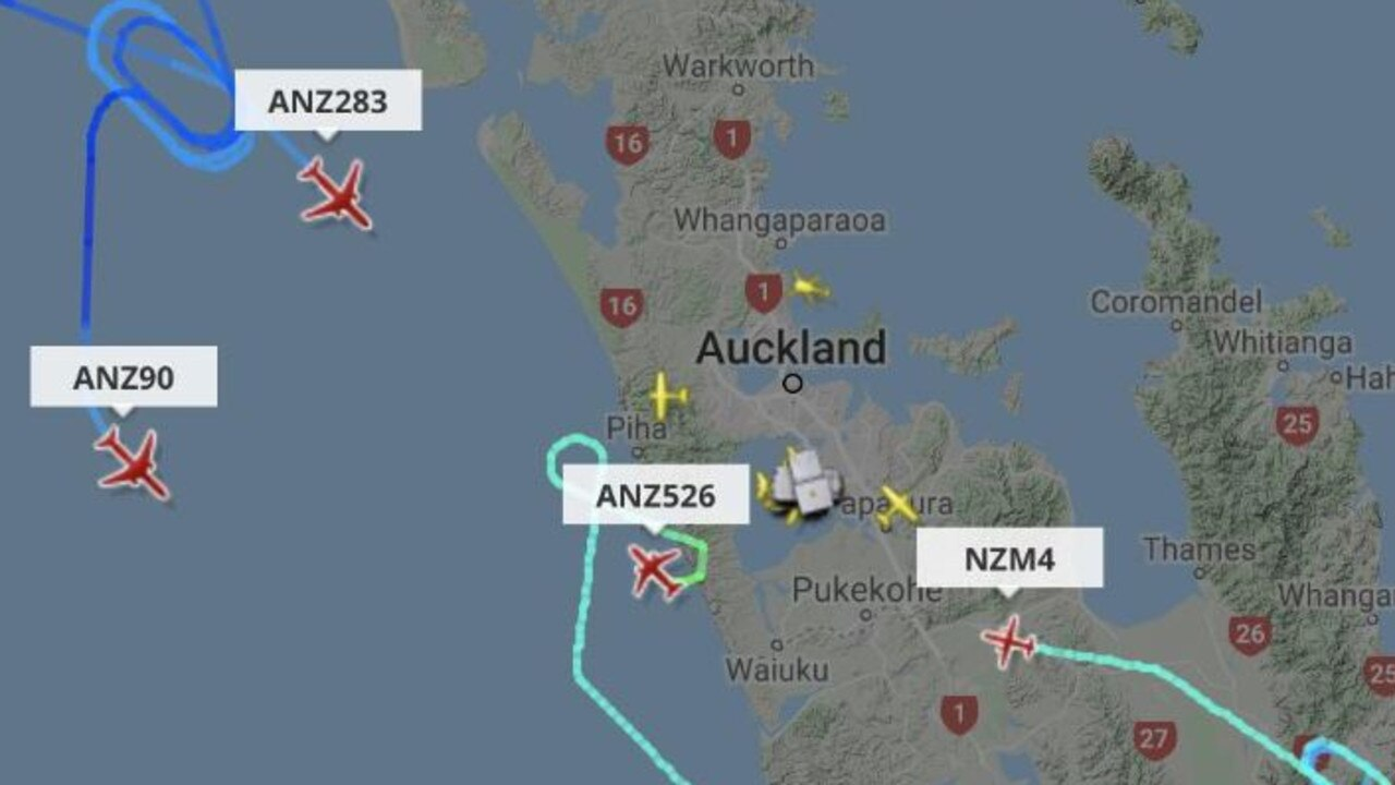 FlightRadar24 image shows flights being diverted away from Auckland Airport as police responded to reports of a 'threat'. Picture: FlightRadar24