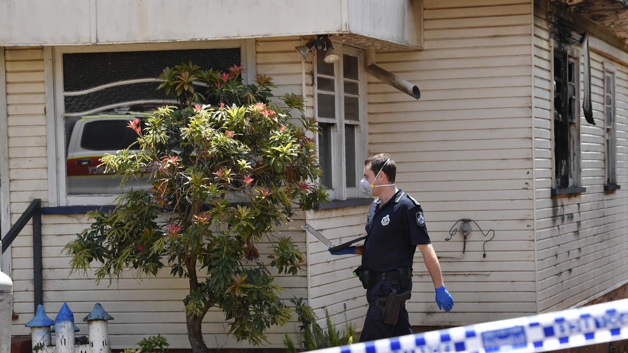 Police investigate a house fire in Stephen St, Harristown. Picture: Kevin Farmer
