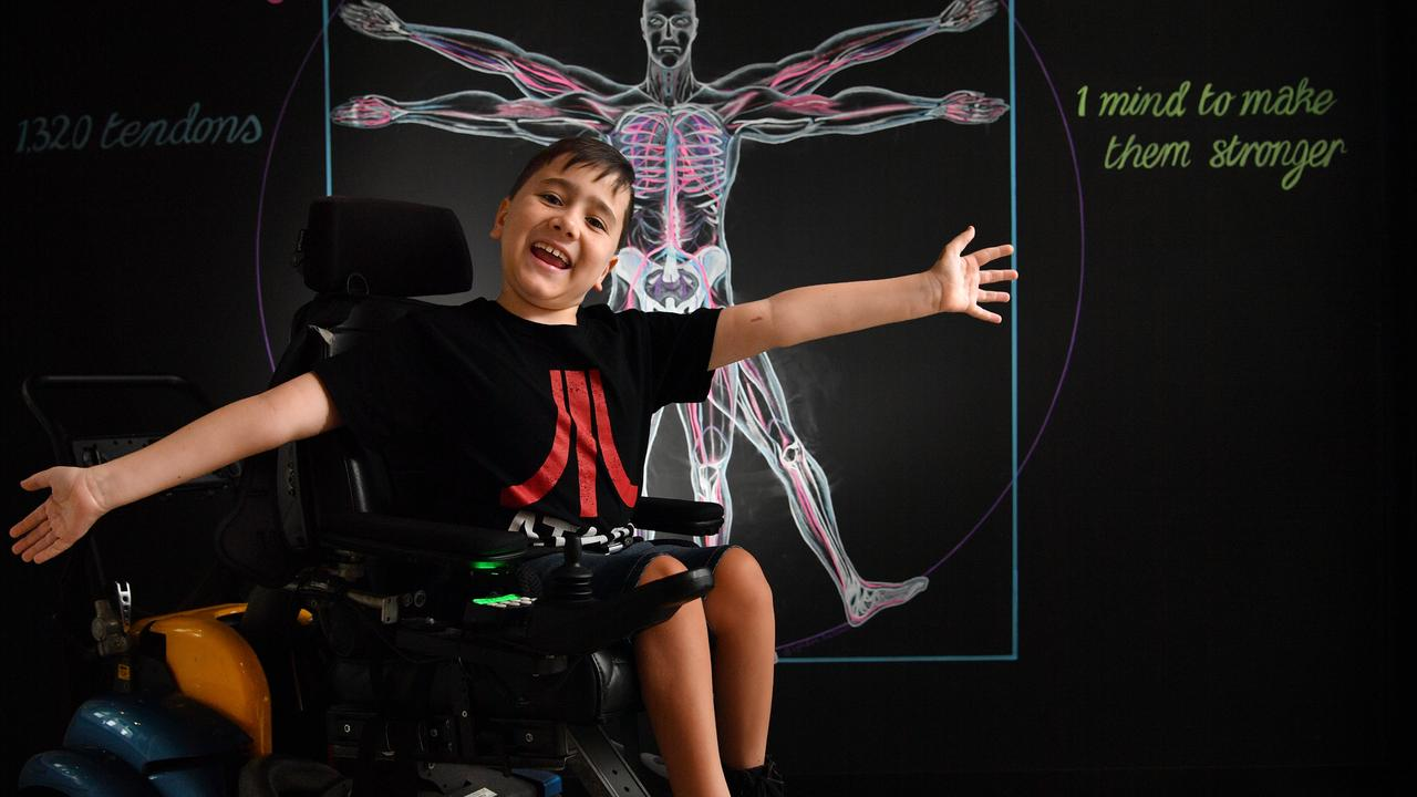 FINLAY'S DREAM: Finlay Mair, 9 hopes to be able to purchase a chair that will help him stand up with the help of Kawana Waters Anytime Fitness. Photo: John McCutcheon / Sunshine Coast Daily