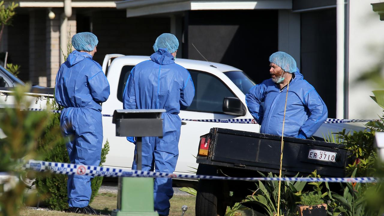Police investigating the shooting at Gleneagle. Picture: AAPimage/David Clark