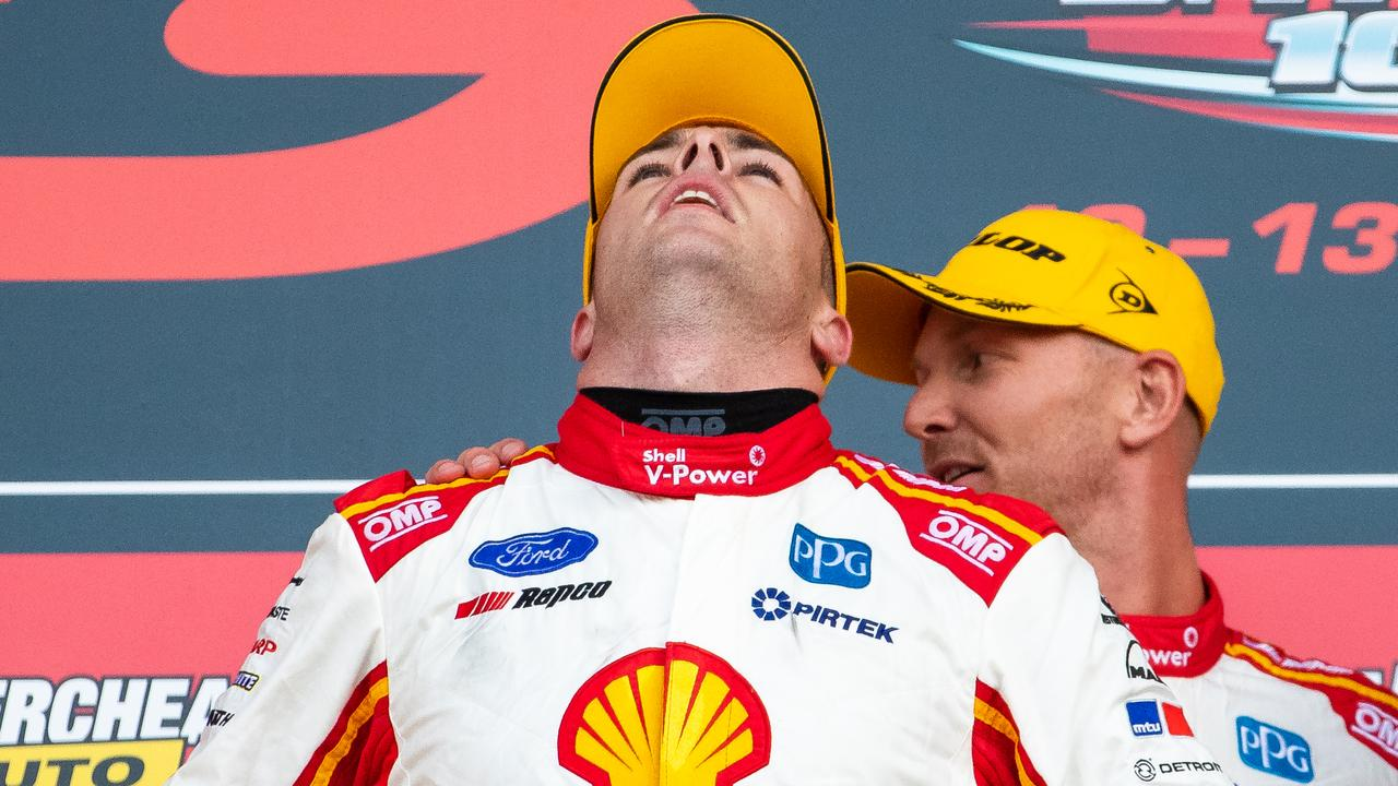 Scott McLaughlin may be stripped of the Bathurst title he celebrated winning on Sunday. Picture: Daniel Kalisz/Getty Images