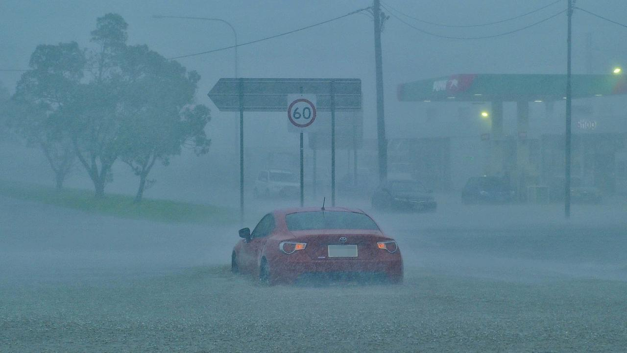 UNDERWATER: Dawson Rd was flooding this morning as the aftermath of ex-Tropical Cyclone Debbie swept through the Gladstone Region.