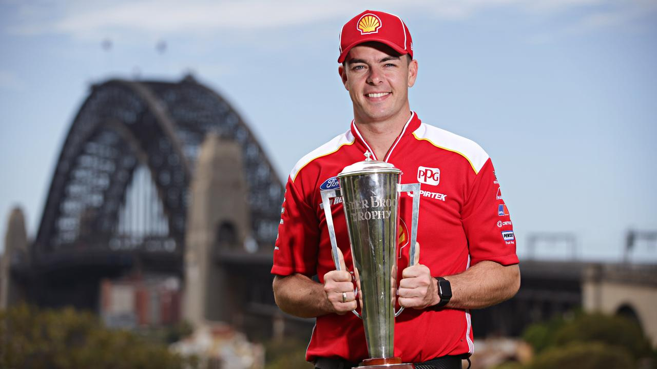 Scott McLaughlin pose with the Peter Brock trophy at Observatory Hill on the 14th of October 2019. Newly crowned Supercheap Auto Bathurst 1000 champions Scott McLaughlin and Alex Premat attend a media call in Sydney. Photographer: Adam Yip