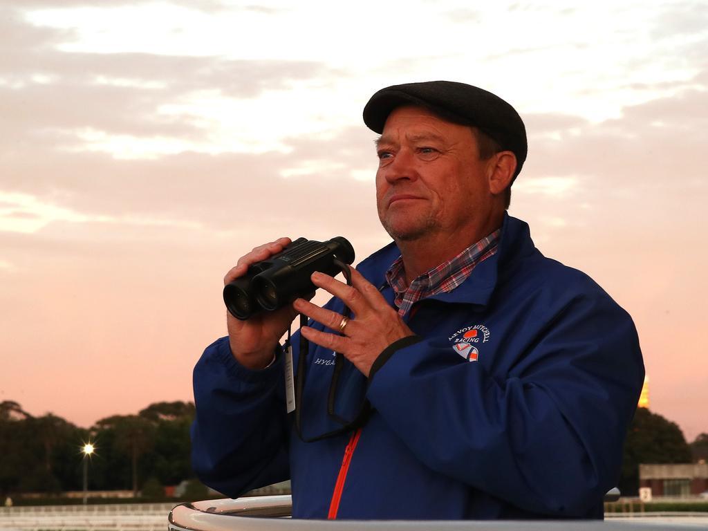 Tony McEvoy keeps an eye on smart mare Sunlight during trackwork.