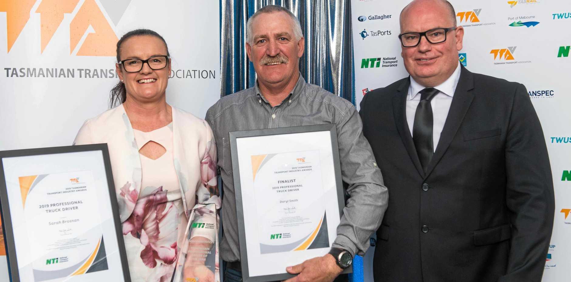 AWARD WINNERS: Sarah Brosnan (2019 Professional Driver), Daryl Smith (2019 Professional Driver Finalist) and Shane Fairhall (NTI).