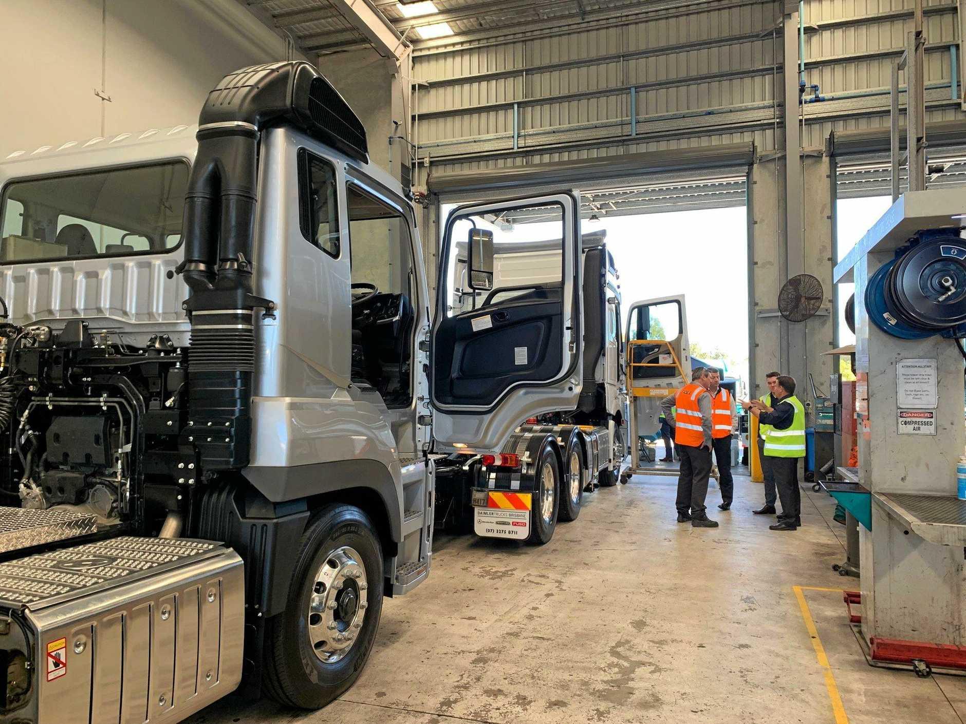 Workshop technicians could examine the trucks at close quarters.