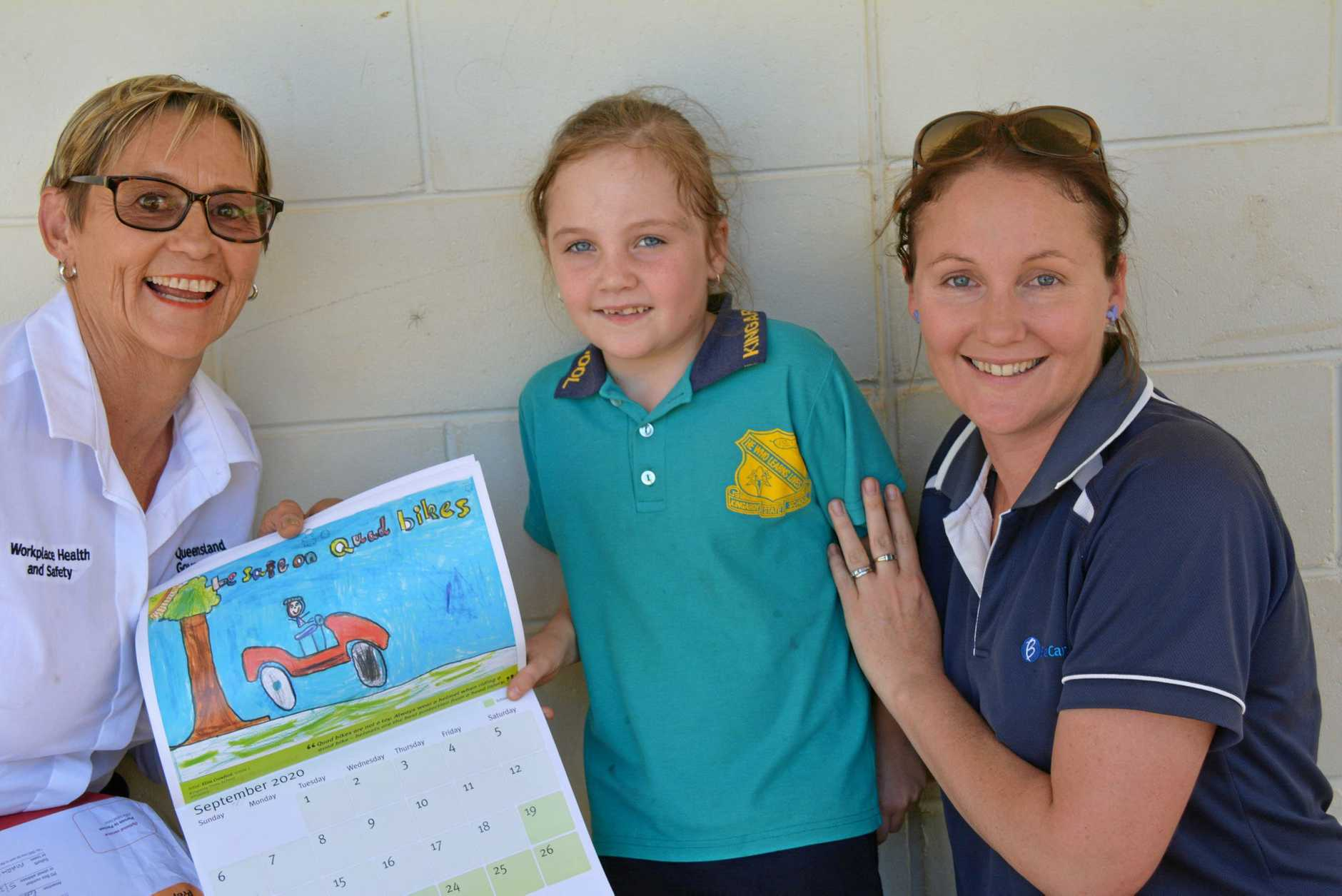 Roslyn Rees from Workplace Health and Safety Queensland made the trek to Kingaroy to visit Eliza Crawford and her mother Kelly Crawford and present Eliza with her prizes.