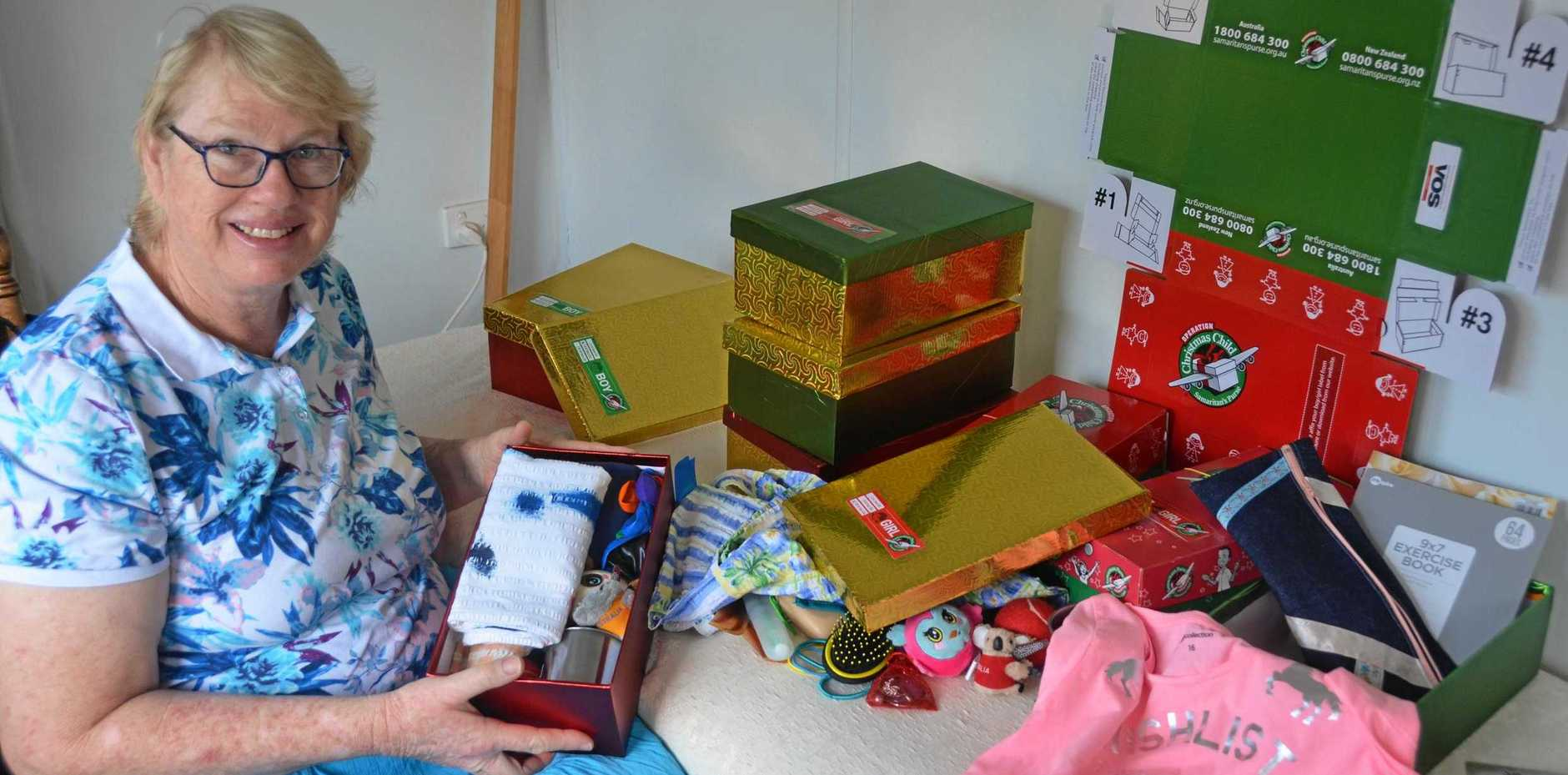 Fiona Ellis is busy gathering Christmas boxes for Operation Christmas Child.